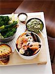 Dish of prawns with bread and vegetables Stock Photo - Premium Royalty-Free, Artist: Robert Harding Images, Code: 649-06532646