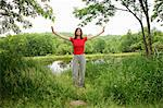 Woman practicing yoga by rural lake Stock Photo - Premium Royalty-Free, Artist: Cultura RM, Code: 649-06533006