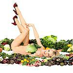 Nude woman laying in produce Stock Photo - Premium Royalty-Free, Artist: Aflo Relax, Code: 649-06533318