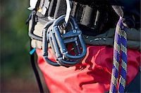 rock climber - Close up of rock climbers carabiners Stock Photo - Premium Royalty-Freenull, Code: 649-06533556