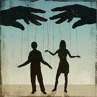restrained - A silhouetted man and woman being controlled by a puppeteer Stock Photo - Premium Royalty-Freenull, Code: 653-06534194