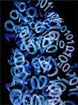 A messy heap of binary code on a black background Stock Photo - Premium Royalty-Freenull, Code: 653-06534447