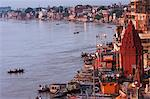 Ghat of Varanasi in morning,Top View