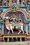Deities on west gopuram, Meenakshi Temple; Madurai