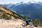 mountain biker riding on alpine trail Stock Photo - Premium Royalty-Free, Artist: Aluma Images             , Code: 6106-06536661
