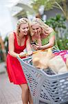 Women using cell phone and shopping Stock Photo - Premium Royalty-Free, Artist: CulturaRM, Code: 614-06537352