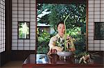 Woman in a kimono performing flower arrangement Stock Photo - Premium Rights-Managed, Artist: Aflo Relax, Code: 859-06538333
