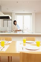 setting kitchen table - Eat in kitchen Stock Photo - Premium Rights-Managednull, Code: 859-06538415