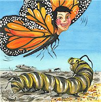 Monarch Butterfly with Evil Caterpillar Stock Photo - Premium Royalty-Freenull, Code: 618-06539077