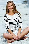 Beautiful young woman sitting on sand Stock Photo - Premium Rights-Managed, Artist: urbanlip.com, Code: 847-06540542