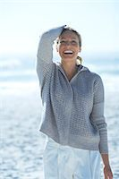 Healthy mature woman standing by sea Stock Photo - Premium Rights-Managednull, Code: 847-06540683