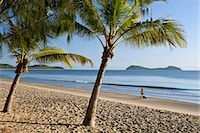 palm - Australia, Queensland, Cairns.  Kewarra Beach at dawn with Double Island in background. Stock Photo - Premium Rights-Managednull, Code: 862-06540744