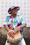 South America, Brazil, tambor drummer from the Tambor de Crioula group Catarina Mina, in the streets of Sao Luis MR Stock Photo - Premium Rights-Managed, Artist: AWL Images, Code: 862-06540912