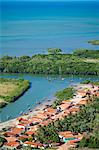 South America, Brazil, Ceara, Aerial of Aranau fishing village near Acarau between Fortaleza and Jericoacoara on the Ceara coast Stock Photo - Premium Rights-Managed, Artist: AWL Images, Code: 862-06541004