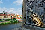 Europe, Czech Republic, Prague, bronze statue on Charles Bridge Stock Photo - Premium Rights-Managed, Artist: AWL Images, Code: 862-06541214