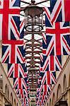 England, London, Covent Garden.  The covered market decorated with Union Jack flags, celebrating HM The Queens Diamond Jubilee. Stock Photo - Premium Rights-Managed, Artist: AWL Images, Code: 862-06541393