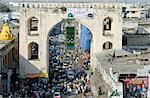 India, Andhra Pradesh, Hyderabad. Charkaman, or Four Arches, built in the 1590s still has dense traffic passing through its main archway. Stock Photo - Premium Rights-Managed, Artist: AWL Images, Code: 862-06541940