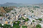 India, Rajasthan, Ajmer. View of Ajmer town and the famous Dargah of Khwaja Mulin ud din Chishti, a 12th century Sufi saint originally from Persia. Stock Photo - Premium Rights-Managed, Artist: AWL Images, Code: 862-06541948
