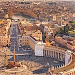Cityscape from dome, St peters Square, Rome, Lazio, Italy, Europe. Stock Photo - Premium Rights-Managed, Artist: AWL Images, Code: 862-06541987