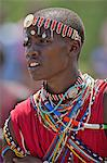A Maasai schoolboy in traditional attire sings during an inter schools song and dance competition, Kenya Stock Photo - Premium Rights-Managed, Artist: AWL Images, Code: 862-06542297