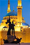Lebanon, Beirut. Statue in Martyrs Square and Mohammed AlAmin Mosque at dusk. Stock Photo - Premium Rights-Managed, Artist: AWL Images, Code: 862-06542326