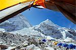 Asia, Nepal, Himalayas, Sagarmatha National Park, Solu Khumbu Everest Region, view through tent of the Khumbu Ice Fall at Everest Base Camp Stock Photo - Premium Rights-Managed, Artist: AWL Images, Code: 862-06542413