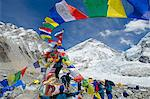 Asia, Nepal, Himalayas, Sagarmatha National Park, Solu Khumbu Everest Region, prayer flags at Everest Base Camp Stock Photo - Premium Rights-Managed, Artist: AWL Images, Code: 862-06542415