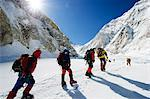 Asia, Nepal, Himalayas, Sagarmatha National Park, Solu Khumbu Everest Region, climbers making their way to camp 2 on Mt Everest Stock Photo - Premium Rights-Managed, Artist: AWL Images, Code: 862-06542456