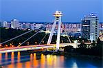 Europe, Slovakia, Bratislava, Novy Most Bridge and UFO viewing platform, Danube River Stock Photo - Premium Rights-Managed, Artist: AWL Images, Code: 862-06542711