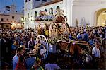 El Rocio, Huelva, Southern Spain. Believers attending the feast in front of the main church in the village of El Rocio during the annual Romeria Stock Photo - Premium Rights-Managed, Artist: AWL Images, Code: 862-06542969