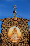 El Rocio, Huelva, Southern Spain. Detail of banner with the picture of the Madonna of El Rocio carried during the annual Romeria and feast Stock Photo - Premium Rights-Managed, Artist: AWL Images, Code: 862-06542980