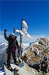 Europe, Switzerland, Swiss Alps, Valais, Zermatt, cross and climber on summit of The Matterhorn , 4478m, MR, Stock Photo - Premium Rights-Managed, Artist: AWL Images, Code: 862-06543093