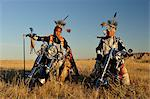 Three Native Indians on Bikes, Lakota, South Dakota, USA MR Stock Photo - Premium Rights-Managed, Artist: AWL Images, Code: 862-06543396