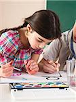 Girl and Boy Painting in Classroom Stock Photo - Premium Royalty-Free, Artist: Uwe Umsttter, Code: 600-06543548