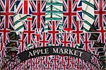 England, London, Covent Garden.  The covered market decorated with Union Jack flags, celebrating HM The Queens Diamond Jubilee. Stock Photo - Premium Rights-Managed, Artist: AWL Images, Code: 862-06551284