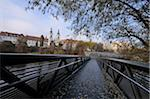 Footbridge over Mur River to Murinsel Island with View of City and Mariahilferkirche in Autumn, Graz, Styria, Austria Stock Photo - Premium Rights-Managed, Artist: David & Micha Sheldon, Code: 700-06553519