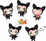 Cute funny different kitten set vector illustration