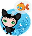 Cute funny kitten with fish vector illustration