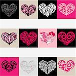 Heart design elements. Love. Handwriting vector background. Stock Photo - Royalty-Free, Artist: katyau                        , Code: 400-06555157