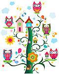 colorful owls tree Stock Photo - Royalty-Free, Artist: dip                           , Code: 400-06555191