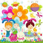 easter background with happy kids, bees and flowers Stock Photo - Royalty-Free, Artist: dip                           , Code: 400-06555196