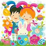 easter background with happy bees and flowers Stock Photo - Royalty-Free, Artist: dip                           , Code: 400-06555197
