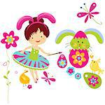 little girl in bunny costume painting a easter egg Stock Photo - Royalty-Free, Artist: dip                           , Code: 400-06555198