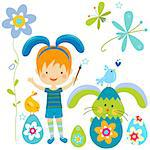 little boy in bunny costume painting a easter egg Stock Photo - Royalty-Free, Artist: dip                           , Code: 400-06555199