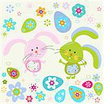 easter bunnies background Stock Photo - Royalty-Free, Artist: dip                           , Code: 400-06555200