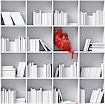 anatomical  heart on the bookshelves (3D concept) Stock Photo - Royalty-Free, Artist: vicnt                         , Code: 400-06555328