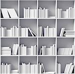 white bookshelves  (illustrated concept) Stock Photo - Royalty-Free, Artist: vicnt                         , Code: 400-06555329