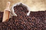 Spilled coffee sack and lots of roasted beans Stock Photo - Royalty-Free, Artist: lightkeeper                   , Code: 400-06555701