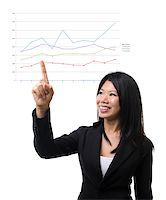 Southeast Asian woman hand pointing at  light bulb idea over white background Stock Photo - Royalty-Freenull, Code: 400-06555866