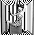 High Fashion Woman With Stripes Boxed Stock Photo - Royalty-Free, Artist: tobkatina                     , Code: 400-06556154